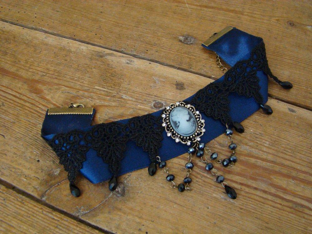 Ras de cou Victorien bleu et noir
