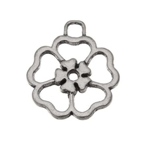 Breloque fleur, 27x23 mm, métal argenté, vendu à l'unité (849)