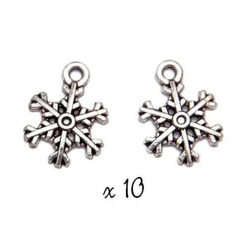 Breloque flocon de neige, lot de 10, pendentif métal argenté (887)