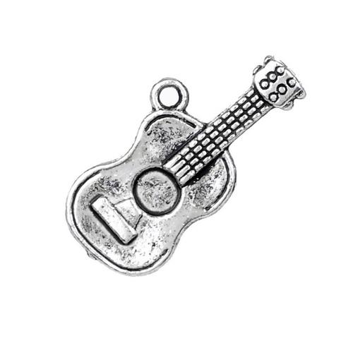 Breloque guitare, 25x12 mm, métal argenté, vendu à l'unité (907)