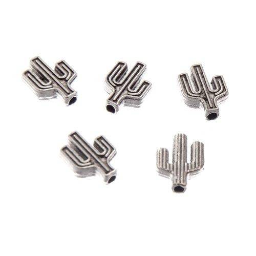 Perle cactus, 10x8 mm, métal argenté, lot de 5 (pm140)