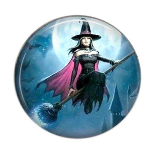 Cabochon résine 25mm rond sorcière halloween 01
