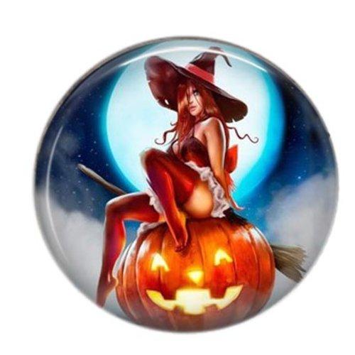 Cabochon résine 25mm rond sorcière halloween 04