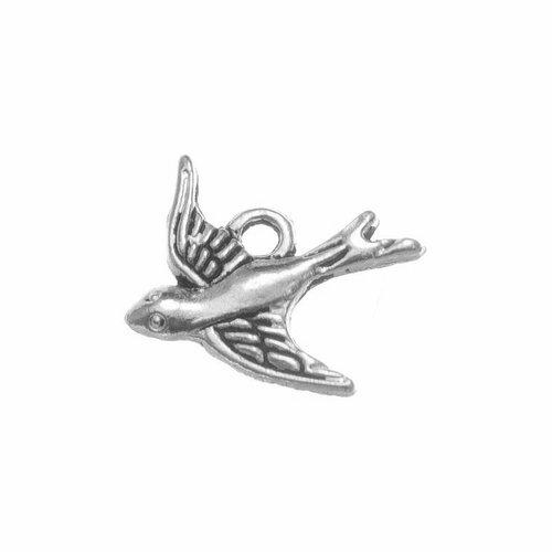 Petite breloque oiseau hirondelle, 15x15 mm, métal argenté, vendu à l'unité (922)