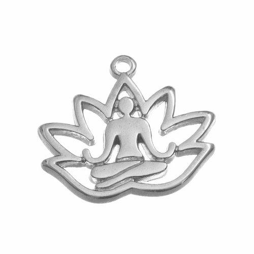 Breloque fleur de lotus yoga, 18x17 mm, métal argenté, vendu à l'unité (923)
