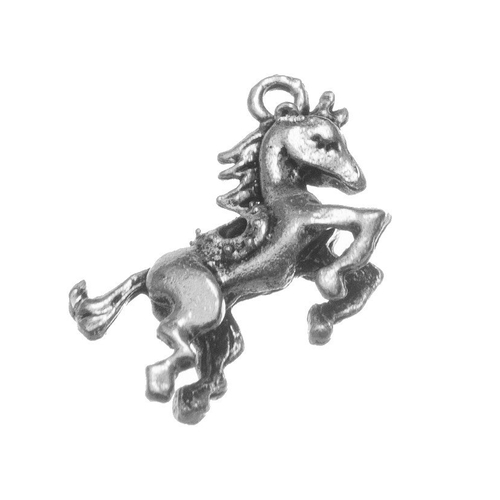 Breloque cheval 3d, 23x16 mm, métal argenté, vendu à l'unité (926)