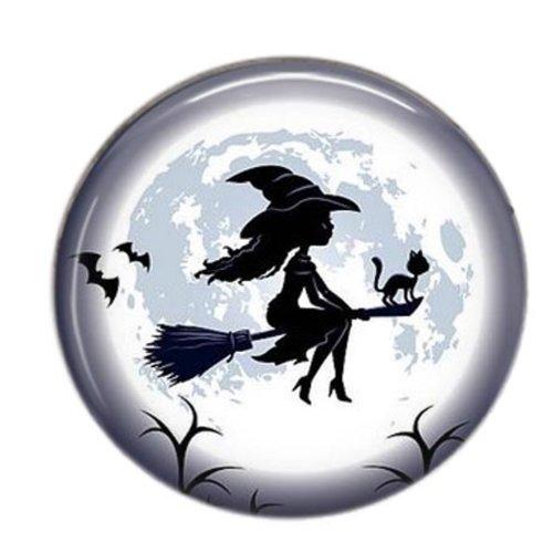 Cabochon résine 25mm rond sorcière halloween 10