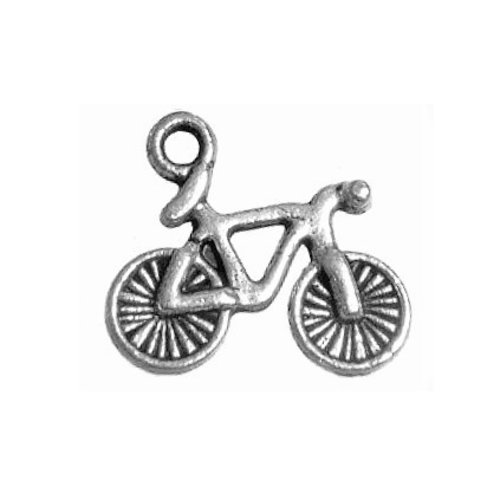 Breloque vélo bicyclette cyclisme, 15x13 mm, métal argenté, vendu à l'unité (941)