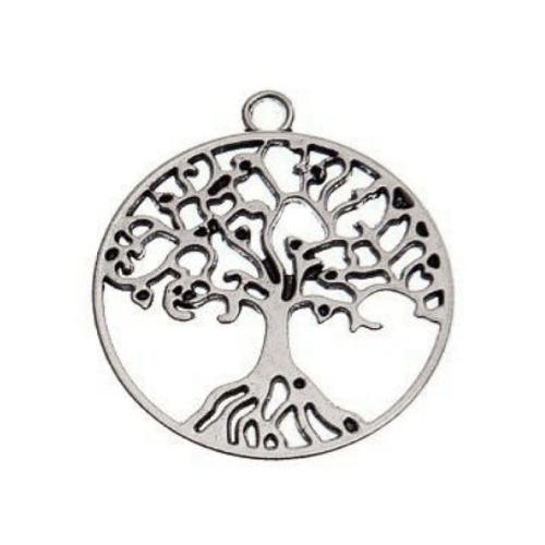 Breloque ronde arbre de vie, 28x25 mm, métal argenté, vendu à l'unité (962)
