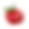 Breloque pomme, 25x20 mm, métal argenté et émail, vendu à l'unité (1009)