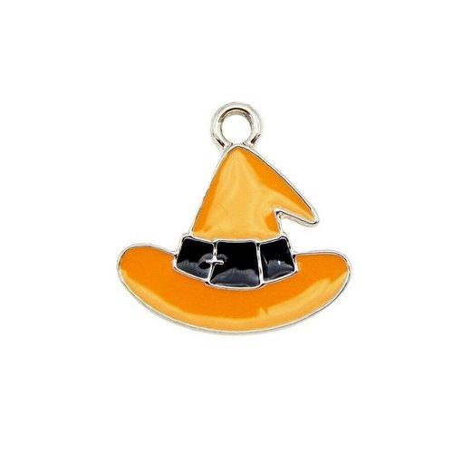 Breloque chapeau orange sorcière halloween, 17 x 17 mm, métal doré, vendu à l'unité (1090)