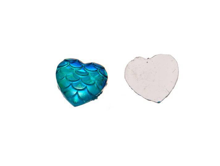 10 x cabochon coeur bleu turquoise écailles résine acrylique