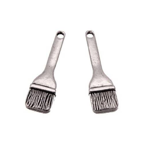 15 breloques pinceau en métal 25mm argentées REF001435