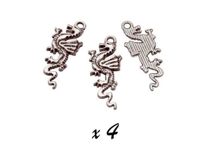 Breloque dragon argenté (x4) pendentif métal BRAG-698