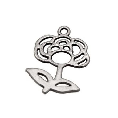 Breloque fleur rose, métal argenté, vendu à l'unité (704)