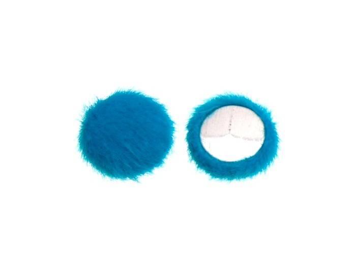 1 cabochon rond 15mm boule fourrure couleur turquoise