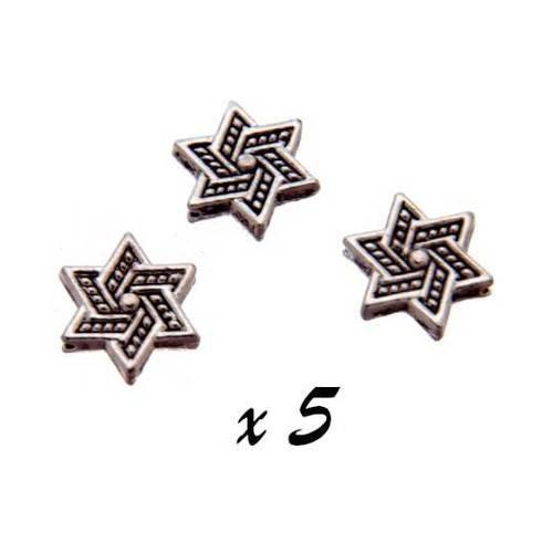 5 x perles intercalaires étoiles 13 mm métal argenté