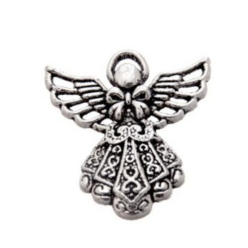 Breloque ange, 26x23 mm, métal argenté, vendu à l'unité (984)