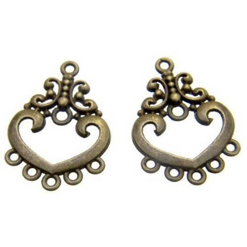 2 x chandeliers connecteurs pendentifs coeur bronze