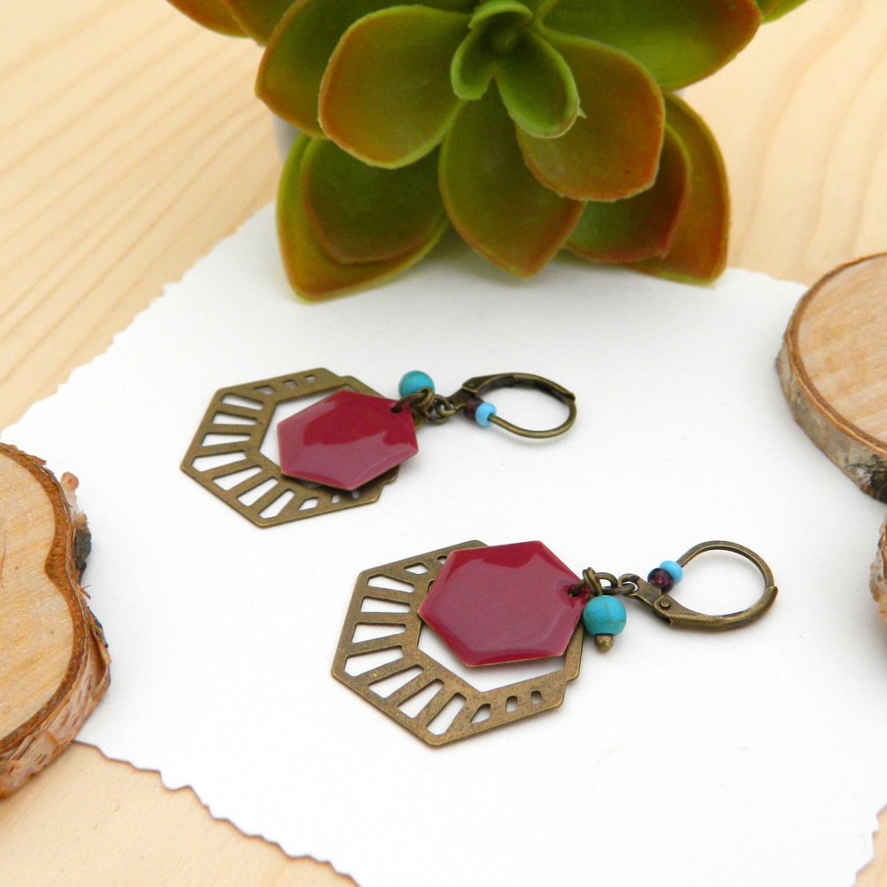 Boucles d'oreilles géométriques, émail violet et perle turquoise