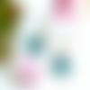 Boucles d'oreilles graphiques, carré émail bleu vert, triangle bronze