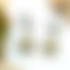 Boucles d'oreilles clips bronze, sequin émail beige