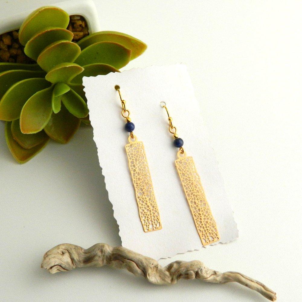 Boucles longues doré, Perle Lapis Lazuli