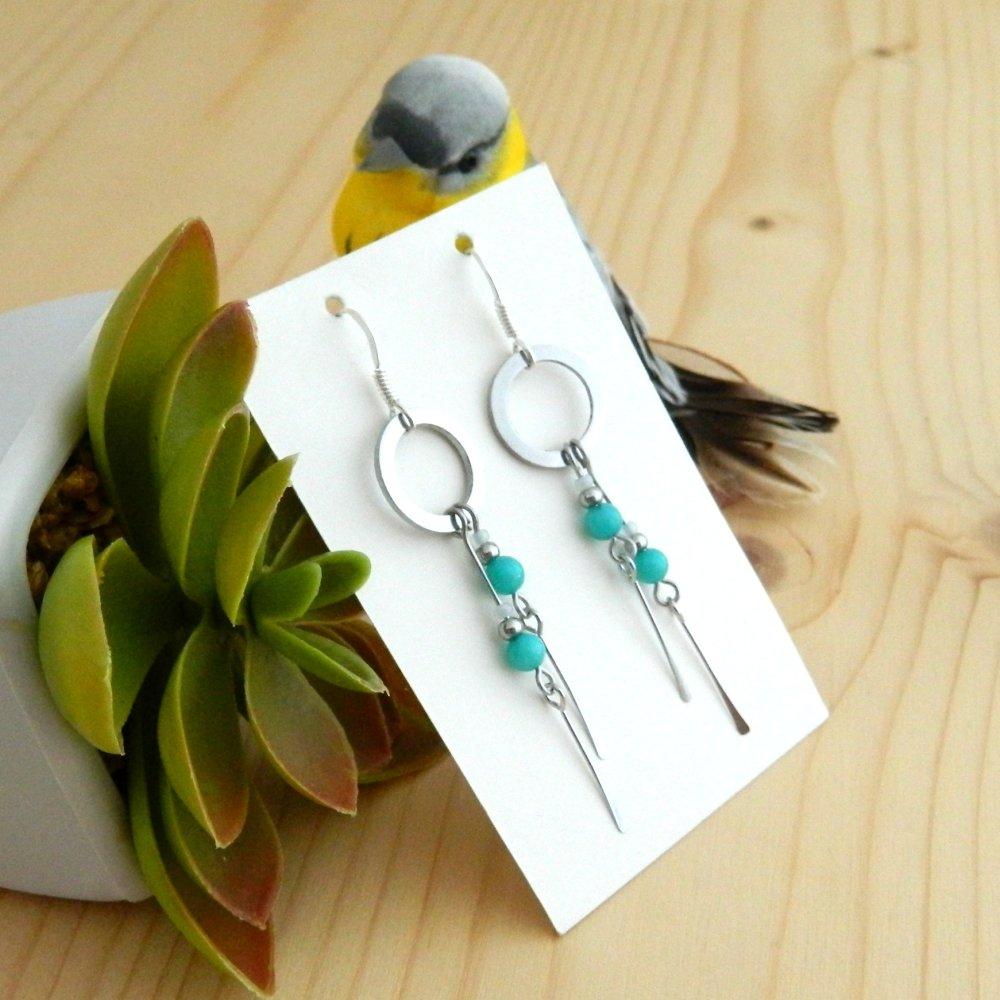 Boucles d'oreilles Argent 925, Perles de Jade Opaline