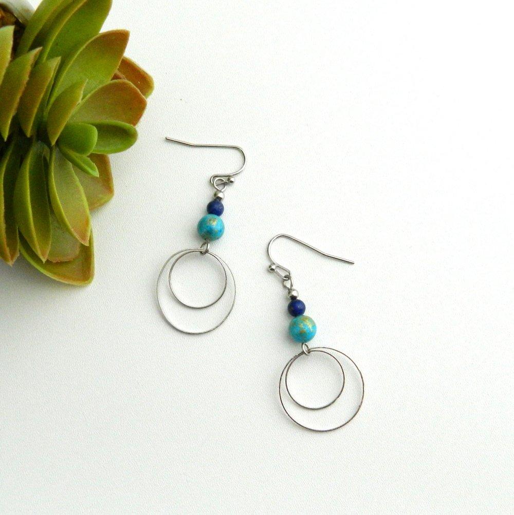 Boucles perles bleues, anneaux argentés