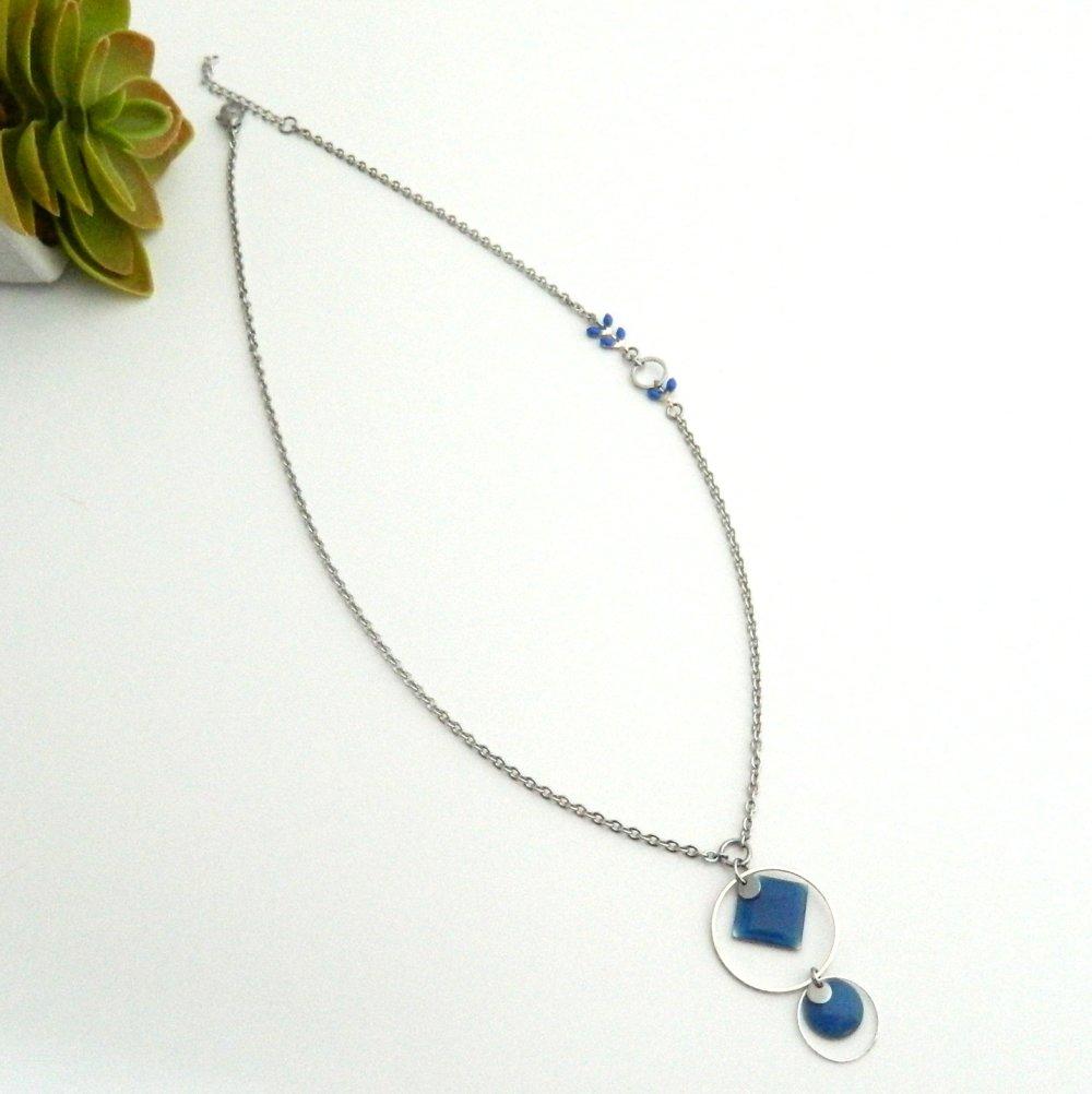 Collier mi-long bleu électrique et acier inoxydable