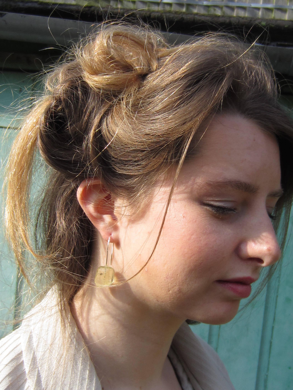 Boucles d'oreilles pendantes en argent massif 925 avec pepites de quartz jaune citron, grandes boucles, bijoux de createur, mode