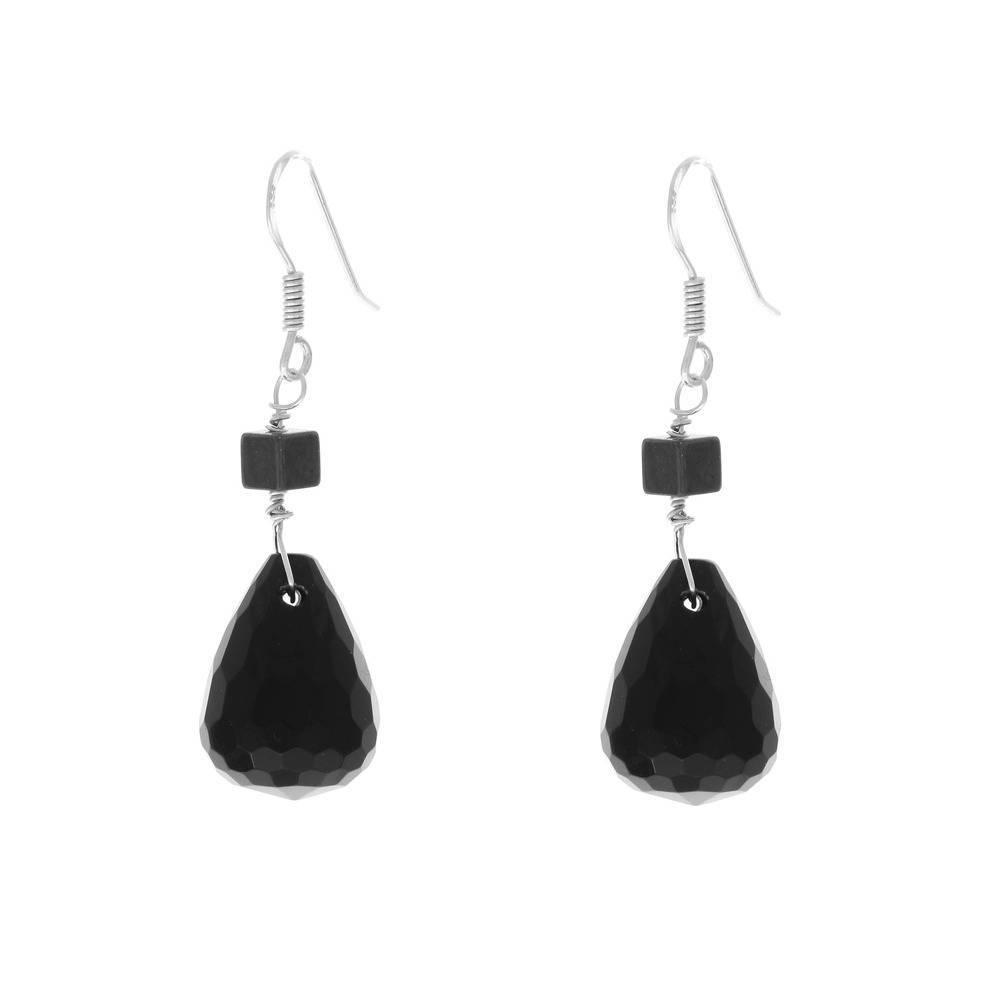 Boucles d'oreilles en argent massif , onyx noir et hematite - boucles pendantes onyx - boucles poires - bijoux soiree - cadeau femme chic