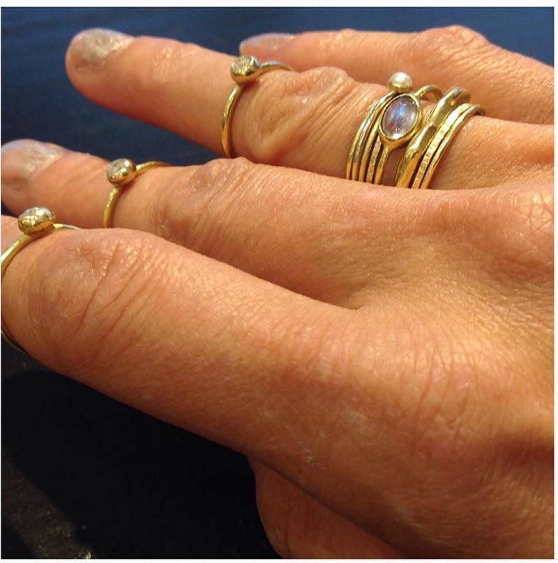 Mimi bague en or jaune 18 carats, or massif 1mm