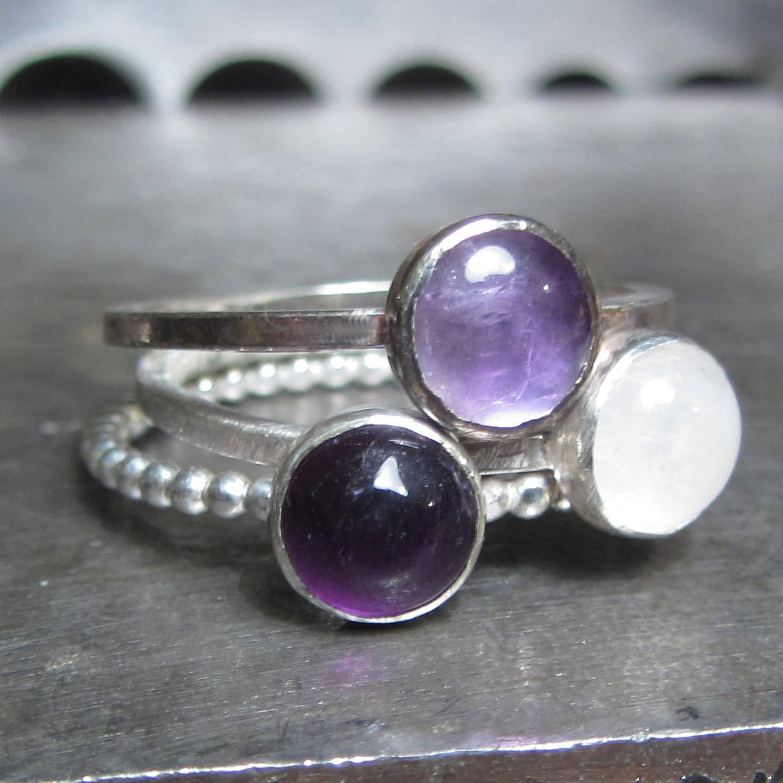 Boucles d'Oreilles Amethyste violette Roche Brute en Argent 925