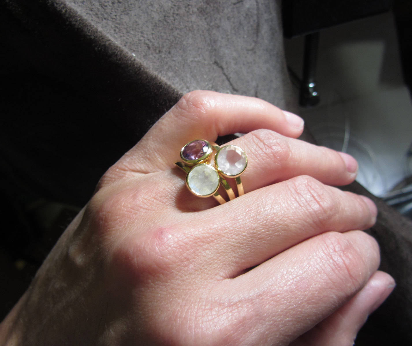 Bague Amethyste en or jaune 18 carats, fait main artisanal