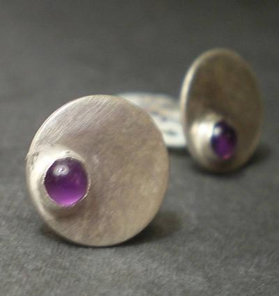 Boucles d'Oreilles Cabochons pierre precieuse Amethyste - puces d'oreilles larges 10mm argent massif 925 avec amethyste violette - dotty