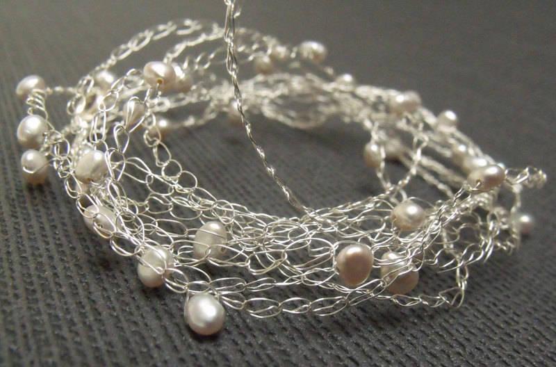 Bracelet crochete en argent massif et perles de culture blanches - bracelet maille argent