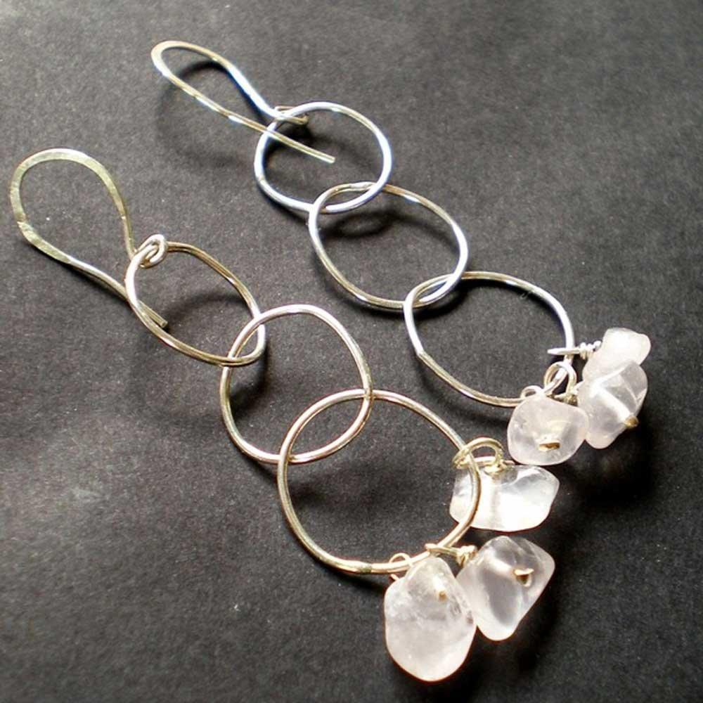 Boucles d'oreilles pendantes en argent 925 et quartz rose