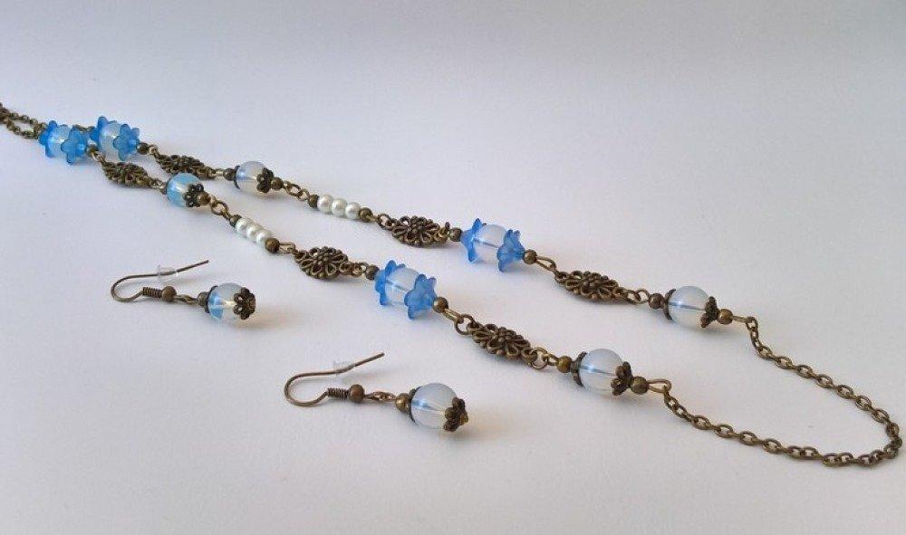parure collier et boucles d'oreilles style rétro, coloris bleu et bronze