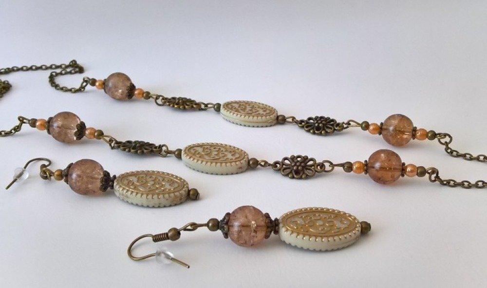 """parure """"style baroque"""" collier & boucles d'oreilles coloris beige/ brun"""