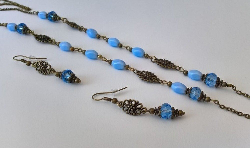 parure collier & boucles d'oreilles coloris bleu  & bronze