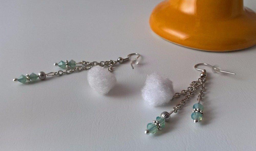 """boucles d'oreilles """"cristal &  petits flocons"""""""