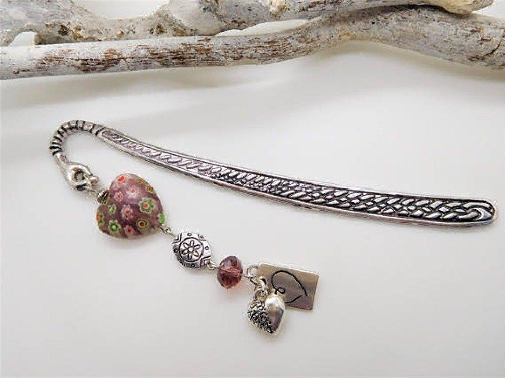 """Marque pages en métal argenté et perle de verre millefiori  """"Coeur en fleur"""" / cadeau fête des mères / cadeau lectrice / saint valentin"""