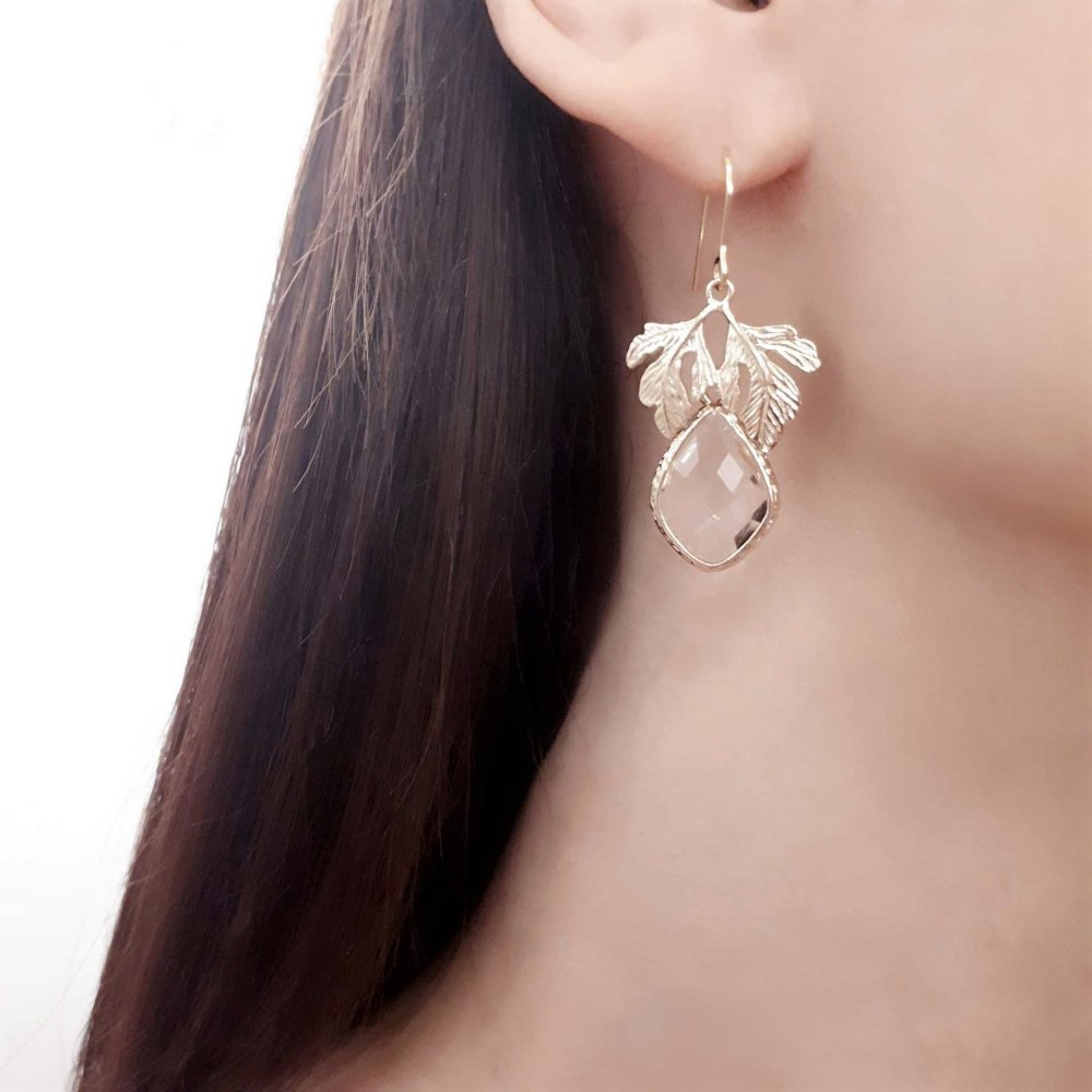 Thea - Boucles d'oreilles mariage pendante feuille et goutte cristal,Bijoux mariage Champêtre,Bijoux mariée feuille plaqué Or