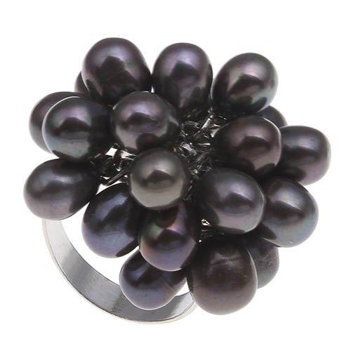 Bague perle eau douce grise noire