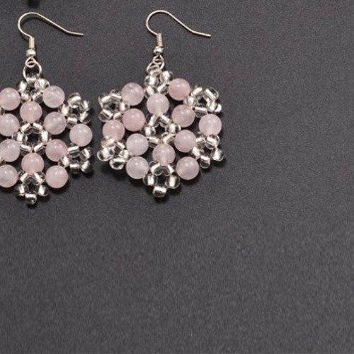 Boucle d´oreille fleur tissé  quartz rose