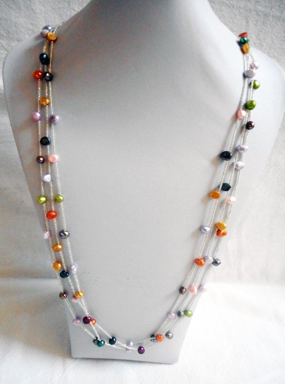collier perle d'eau douce multicolore