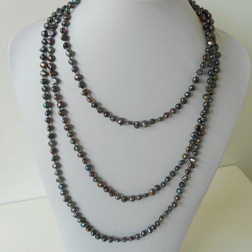 Collier perle eau douce naturelle gris noir