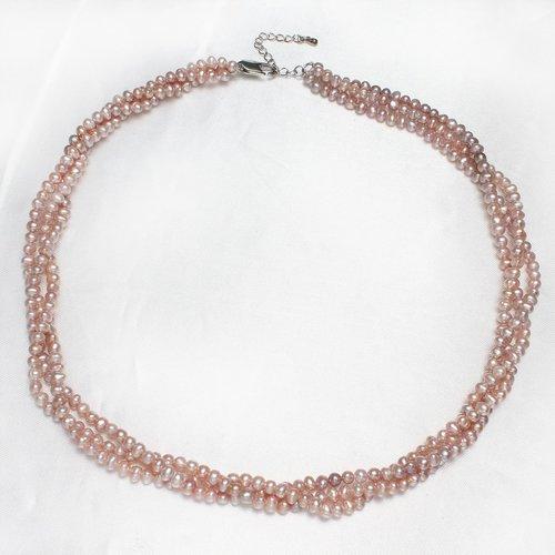Collier ras du cou perle eau douce de culture 3 rangs mauve très clair rose