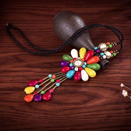 Collier fleur multicolore